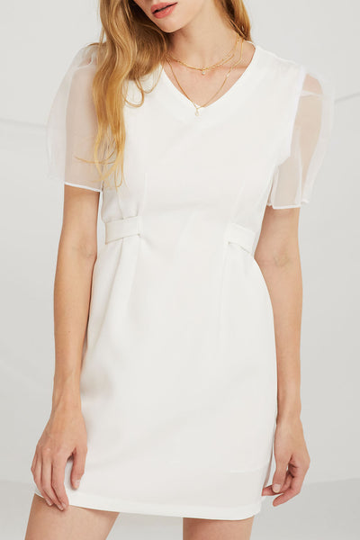 Claire Sheer Puff Sleeve Dress