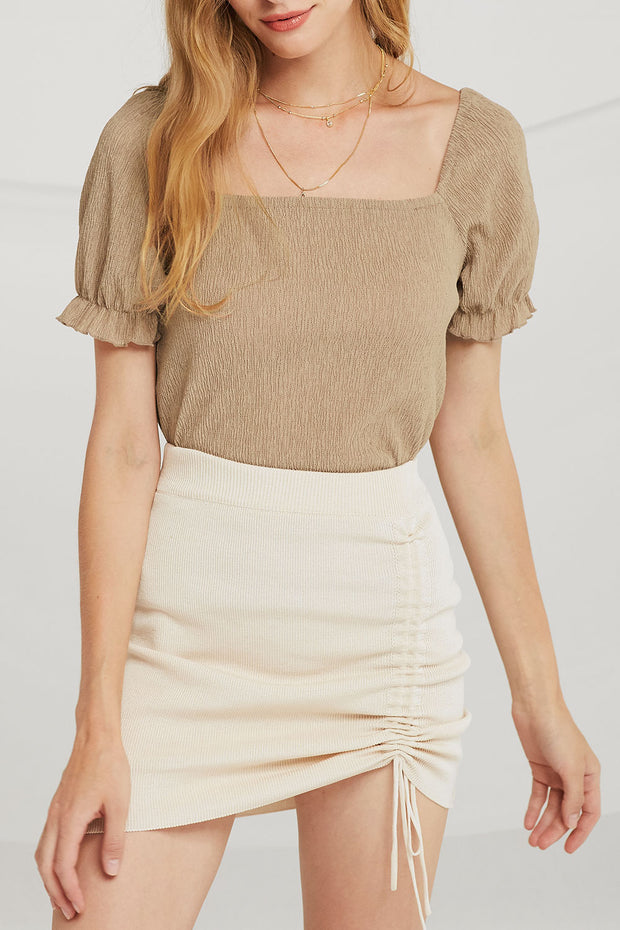 Alexa Side-Ruched Skirt