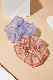 Sheer Check Print Scrunchie