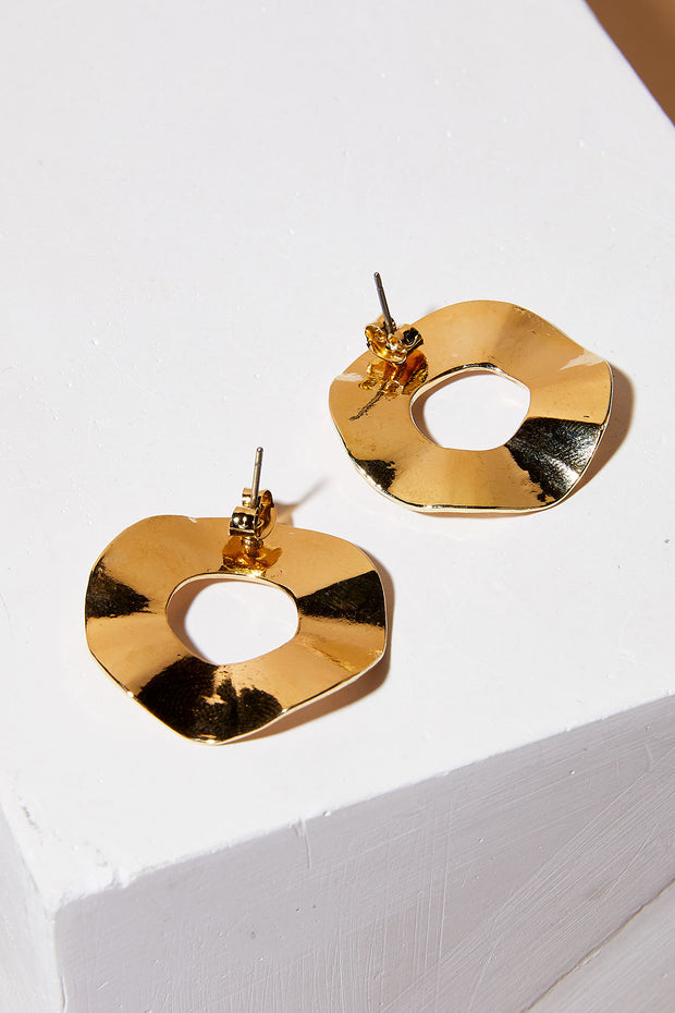 Wave Circle Earrings w/Gold Trim