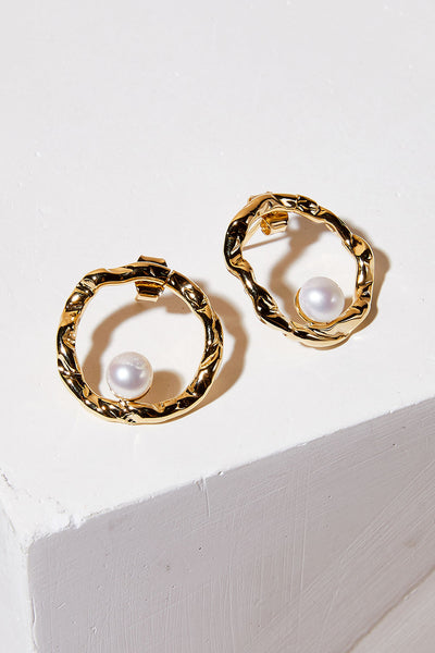 Hammered Circle Pearl Stud Earrings