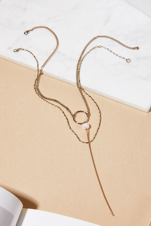 storets.com Circle Drop Layered Necklace