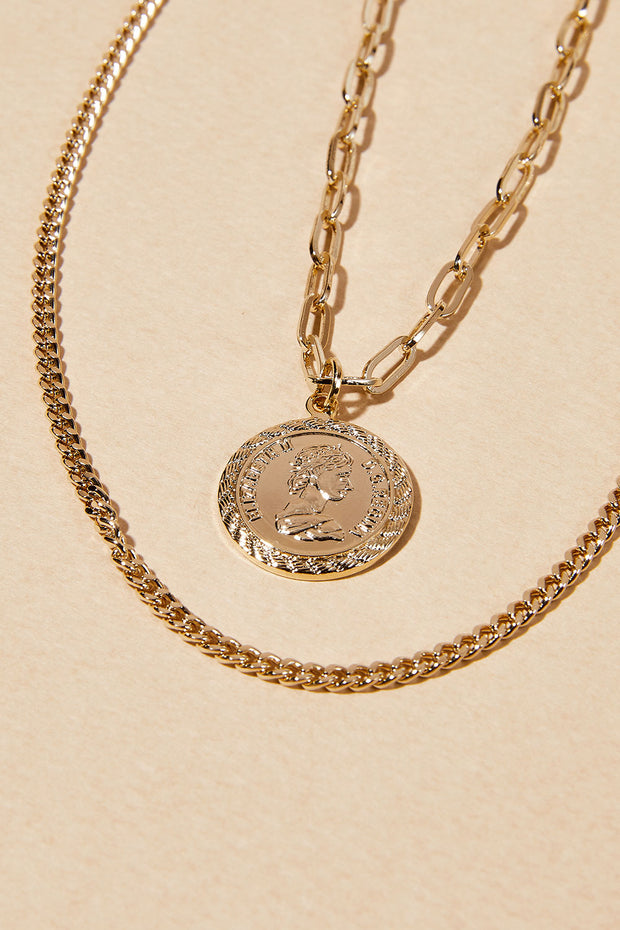 Coin Pendant Layered Necklace