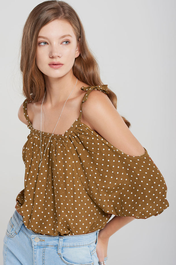 Flora Dotted Cold Shoulder Blouse