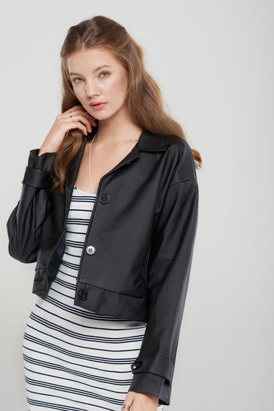 Peggy Boxy Pleather Jacket