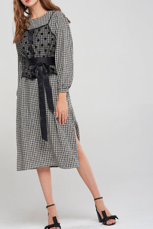 Lonnie Sheer Cami Layered Gingham Dress