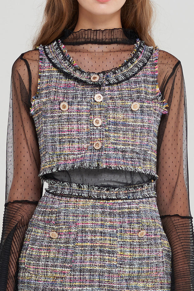 storets.com Tweety Cropped Tweed Vest-2 Colors