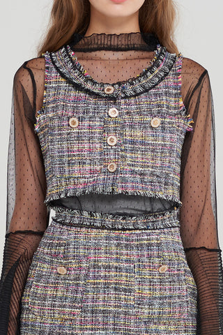 Tweety Cropped Tweed Vest-2 Colors