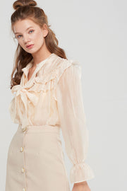 storets.com Sandy Ruffled Sheer Blouse-2 Colors