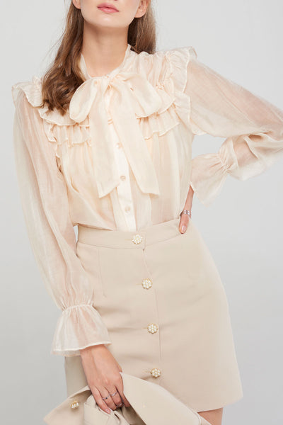 Sandy Ruffled Sheer Blouse-2 Colors