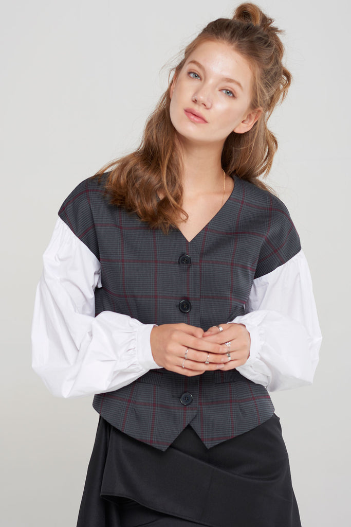 Corinne Plaid Contrast Jacket