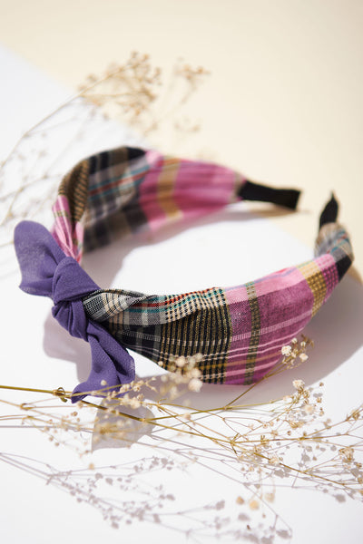 Plain Ribbon Checked Hairband