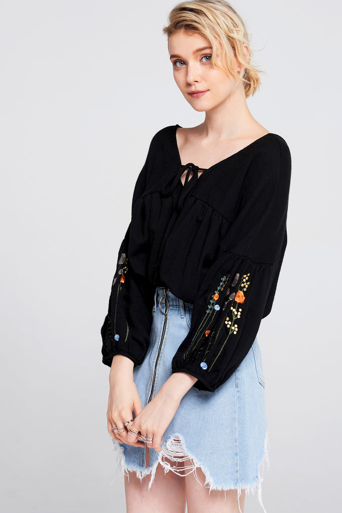 Merry Embroidered Sleeve Blouse