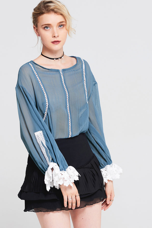 Emmy Lace Panel Cuff Top