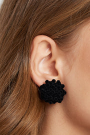 Black Flower Asymmetric Earrings