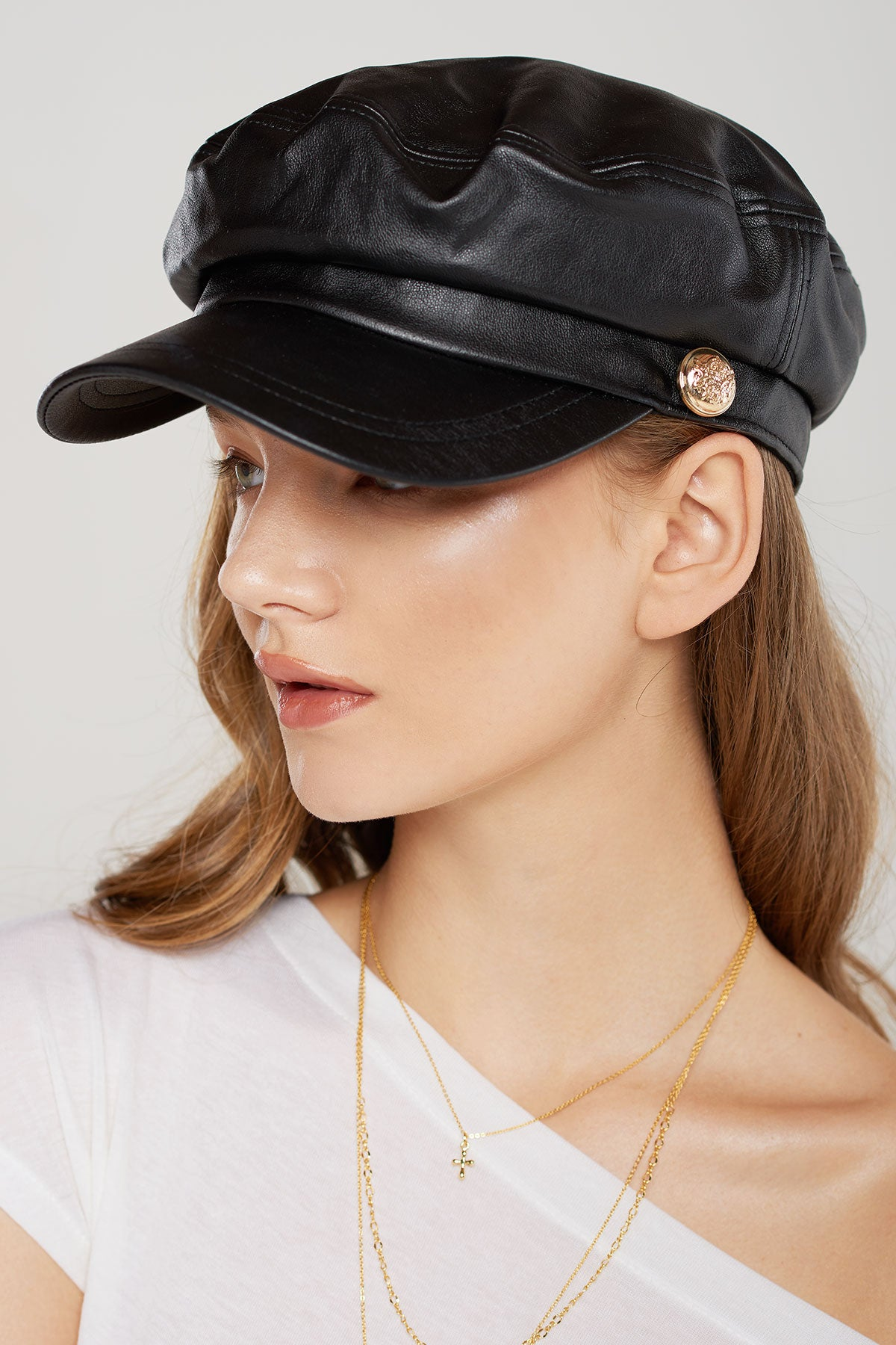 Terry Pleather Newsboy Hat