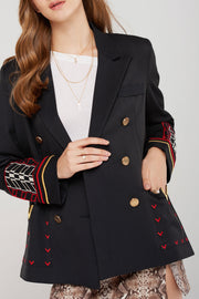 Valencia Embroidery Double Breasted Jacket-3 Colors
