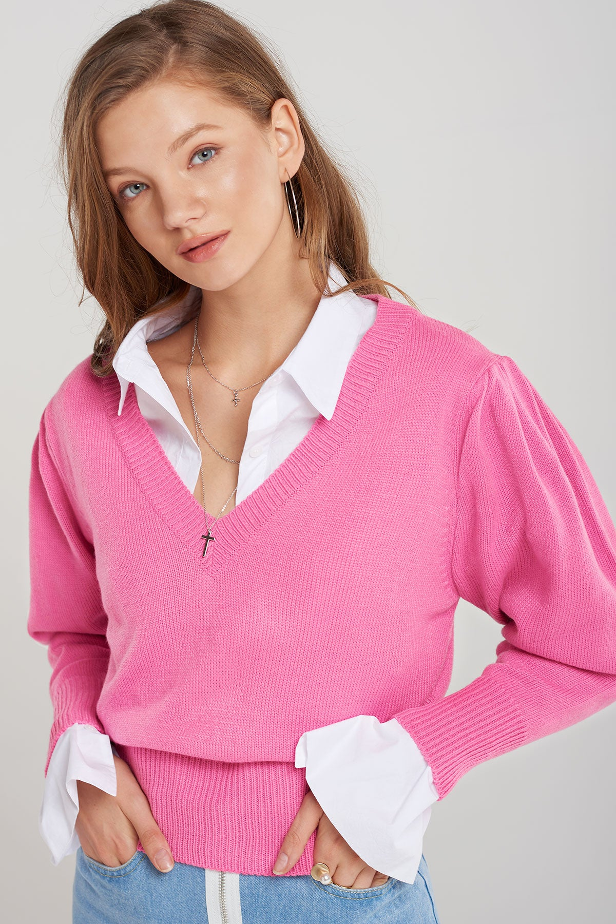 Sharpay V-Neck Knit Top