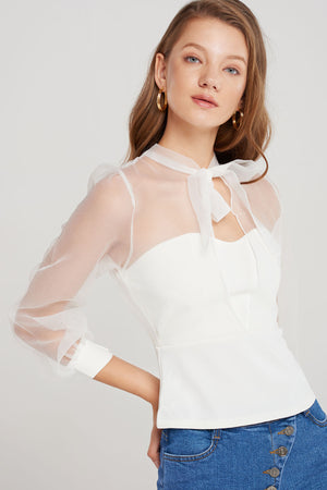 Riley Sheer Sweetheart Blouse