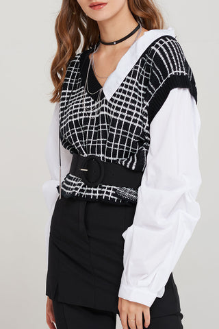 Ruthie Layered Vest Blouse-2 Colors
