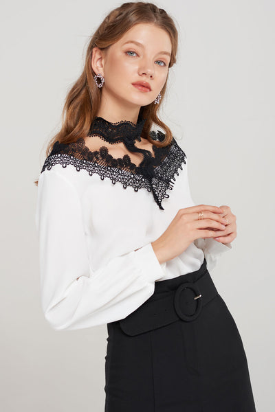 Mila Lace Neck Blouse