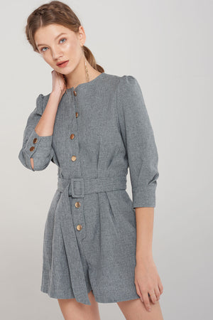 Dagny Button Belted Romper