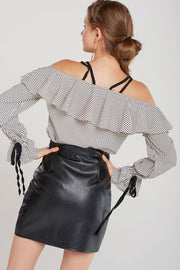 Salma Pleather Pleated Skirt