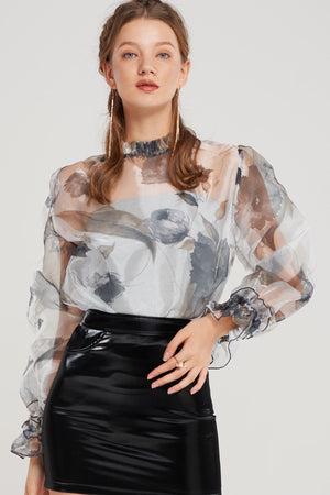 Estella Monochrome Floral Blouse