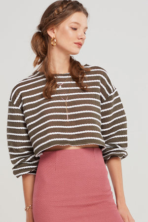 Yuna Cropped Braid Sweater