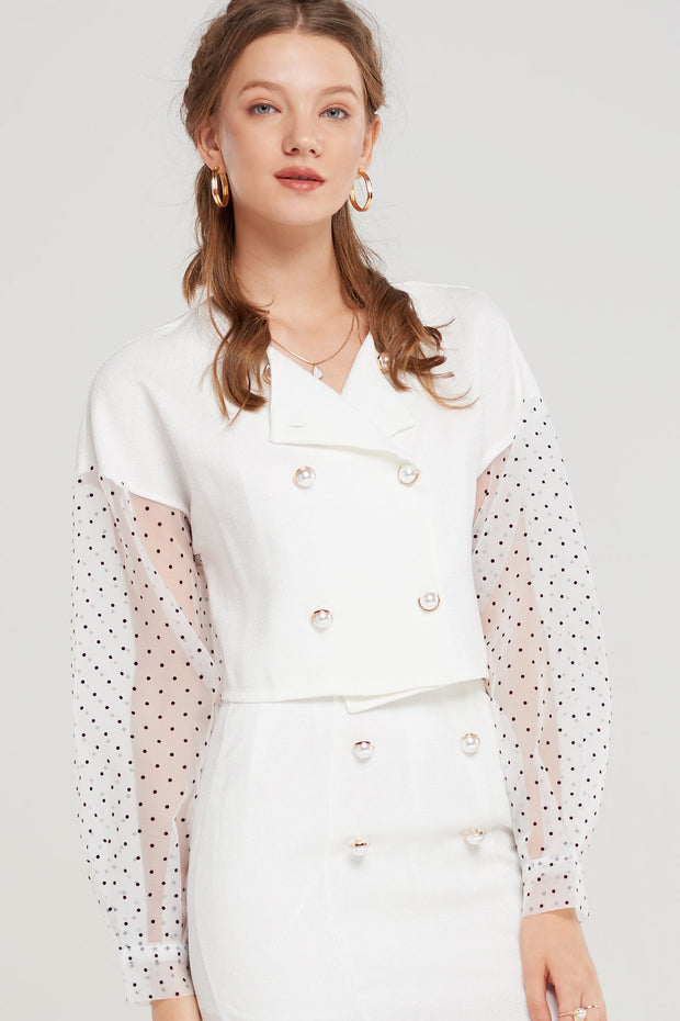 Jonie Dotted Sleeve Blouse-2 Colors
