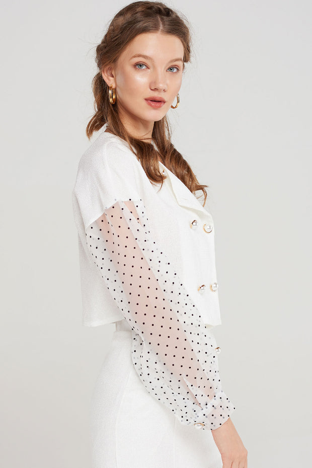 storets.com Jonie Dotted Sleeve Blouse-2 Colors