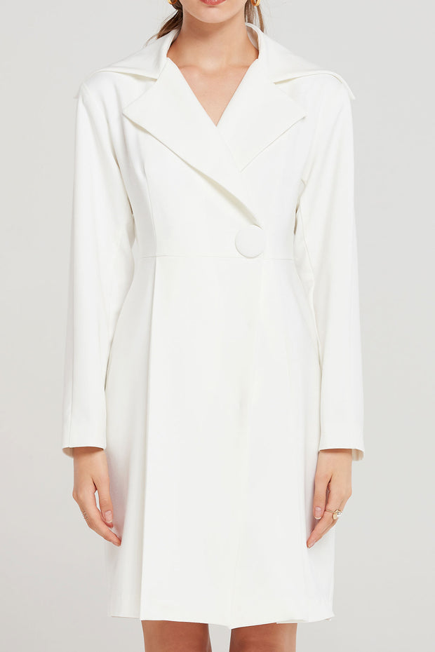 Cassie Buttoned Ivory Jacket Dress