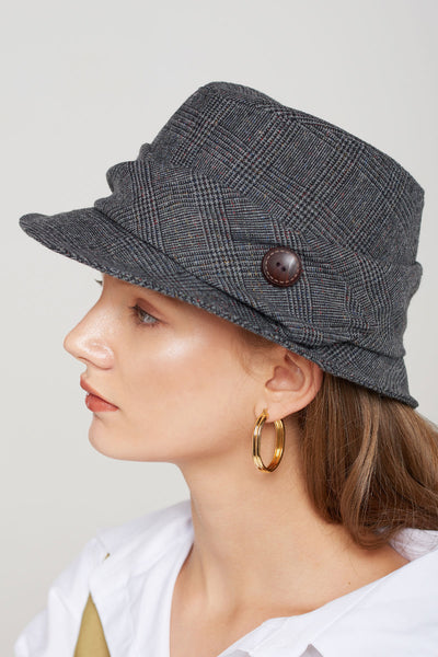 Cecile Plaid Button Fedora