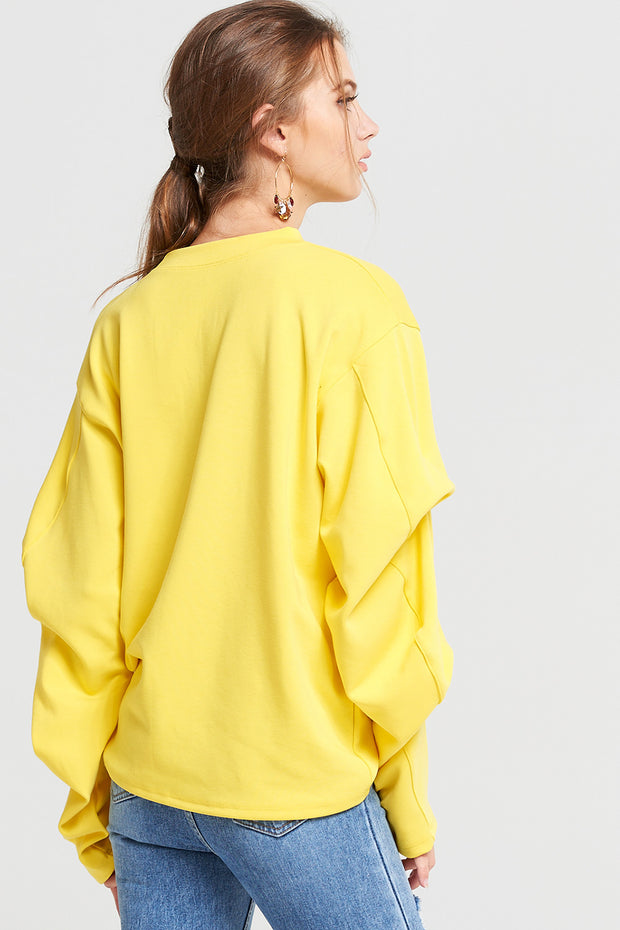 Victoria Shirred Sleeve SweatShirt
