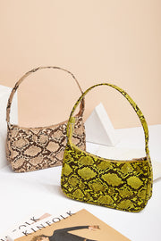 Snake Print Pleather Clutch Bag