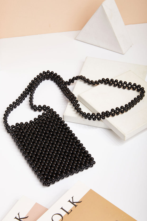 Black Pearl Beaded Bag
