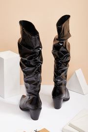 Shirred Patent Pleather Heeled Boots