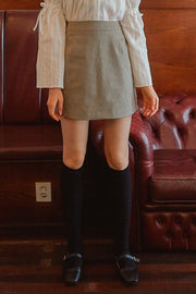 [LETTER FROM MOON] Check Print Mini Skirt in Beige