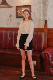 [LETTER FROM MOON] Ruched Velvet Mini Skirt w/Lace Trim