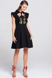 Julia Embroidered Flower Patches Dress