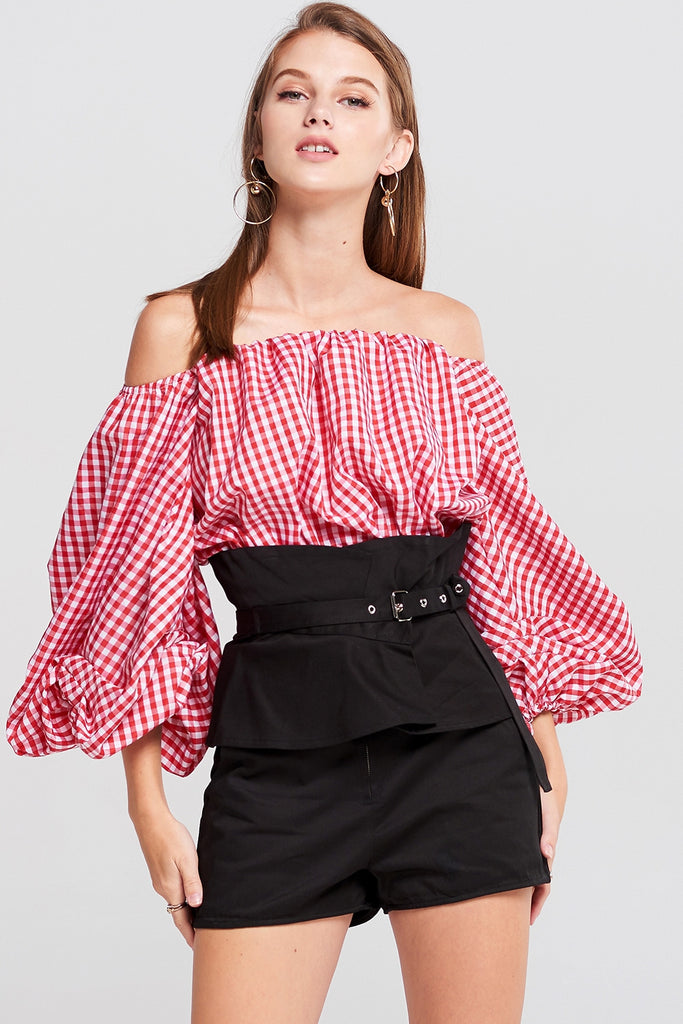 Paula Gingham Cropped Top