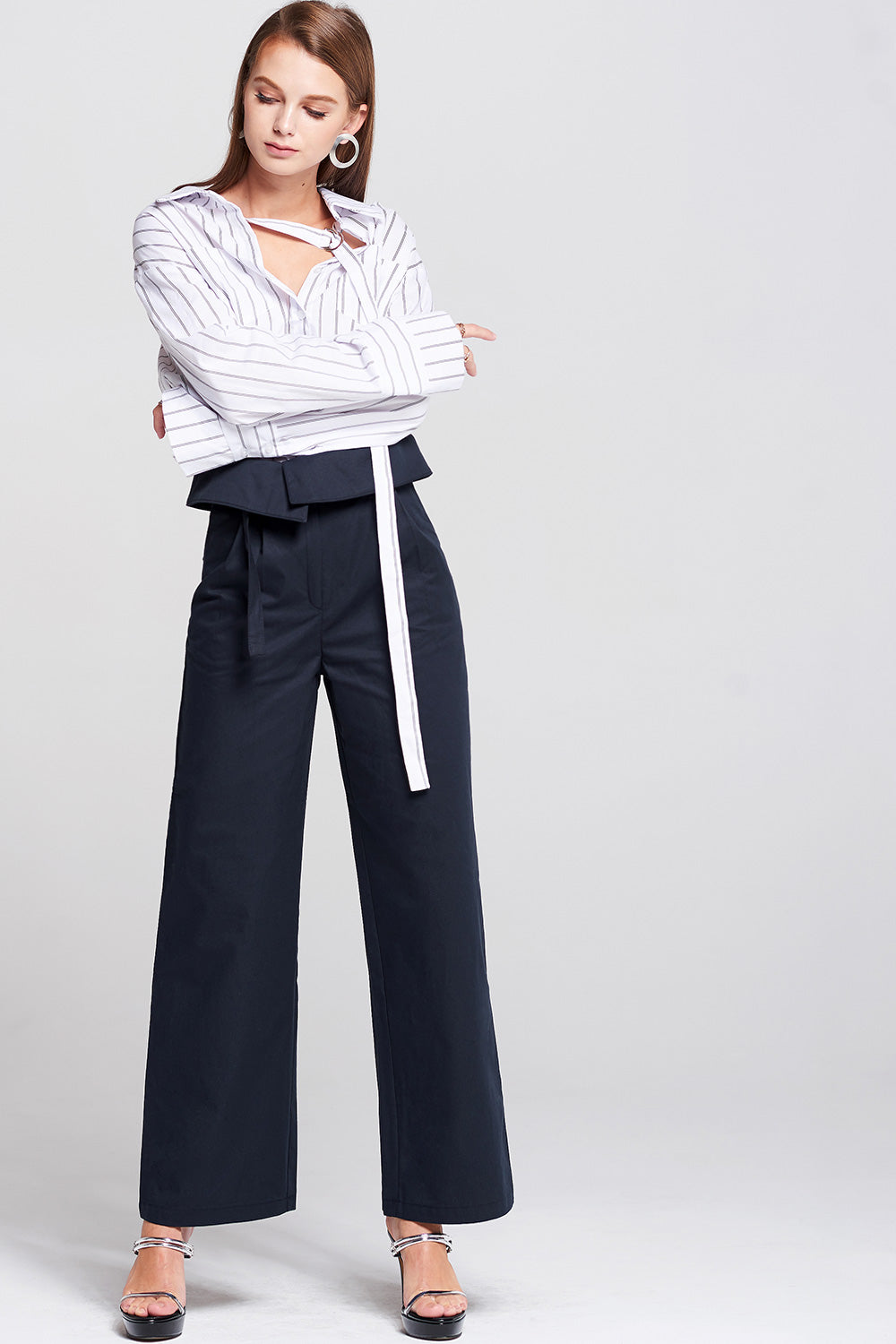 May High-Waist Belted Pants