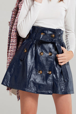 Theo Buttoned Pleather Skirt