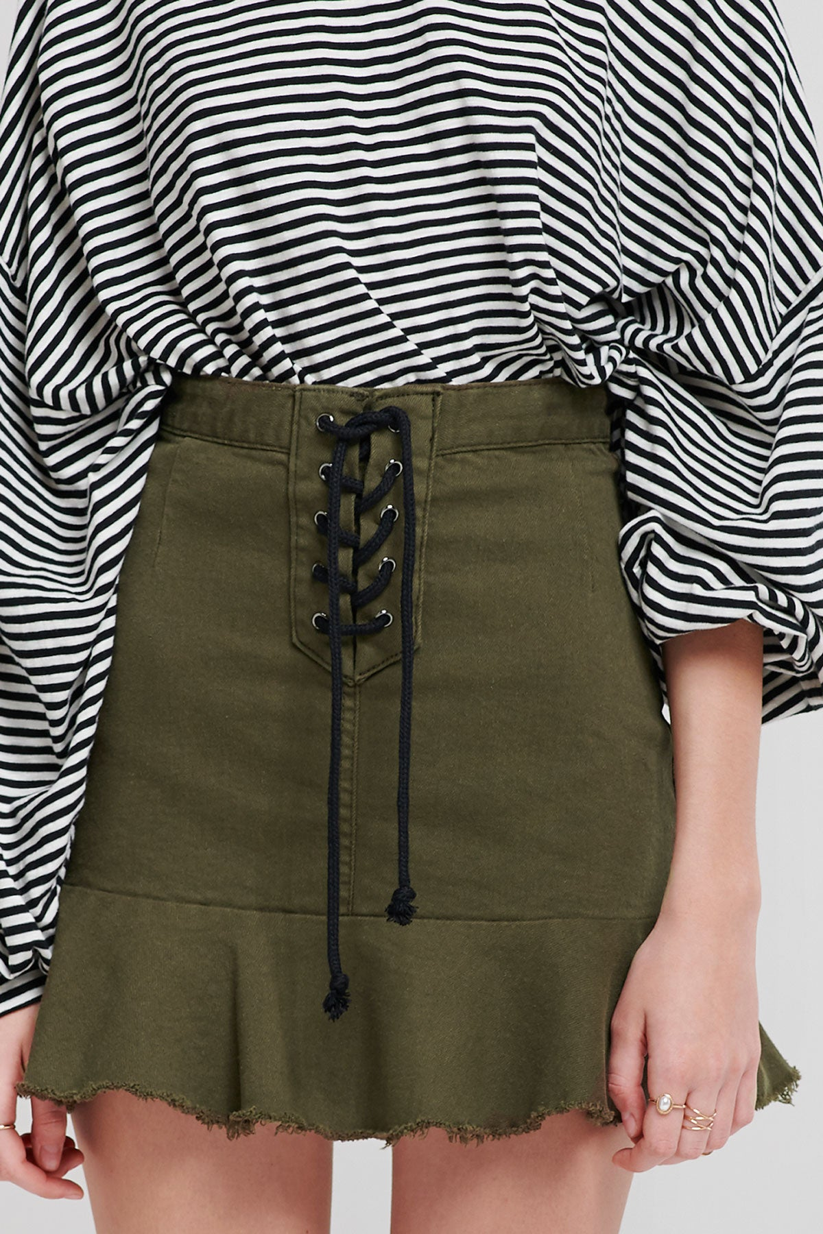 Vicky Suspender Lace Up Skirt