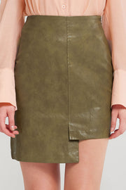 Nicki Uneven Pleather Skirt-2 Colors