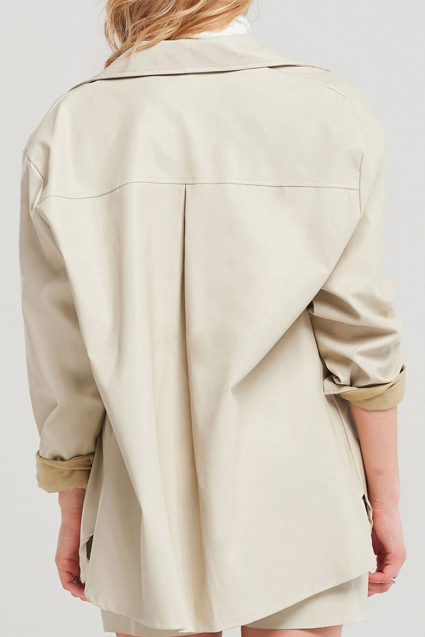 Eugenie Boxy Pleather Jacket-2 Colors