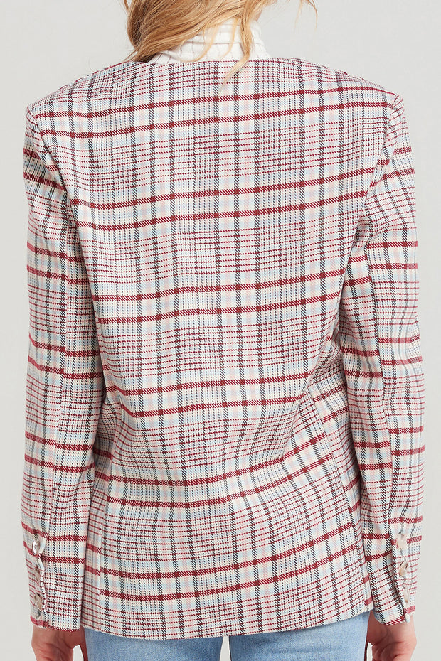 storets.com Fariha Collarless Plaid Blazer