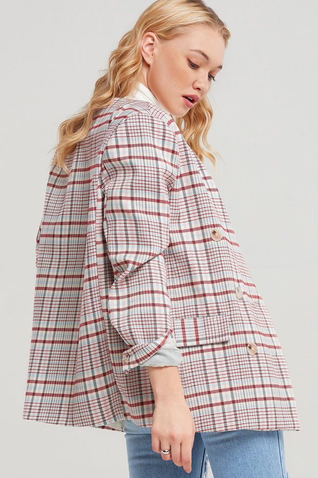 Fariha Collarless Plaid Blazer
