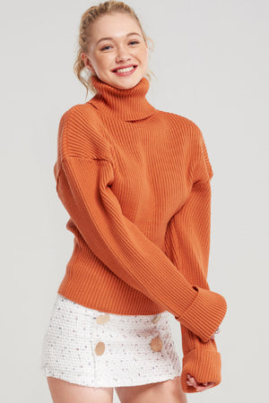 Yolanda Ribbed Drop Shoulder Turtleneck