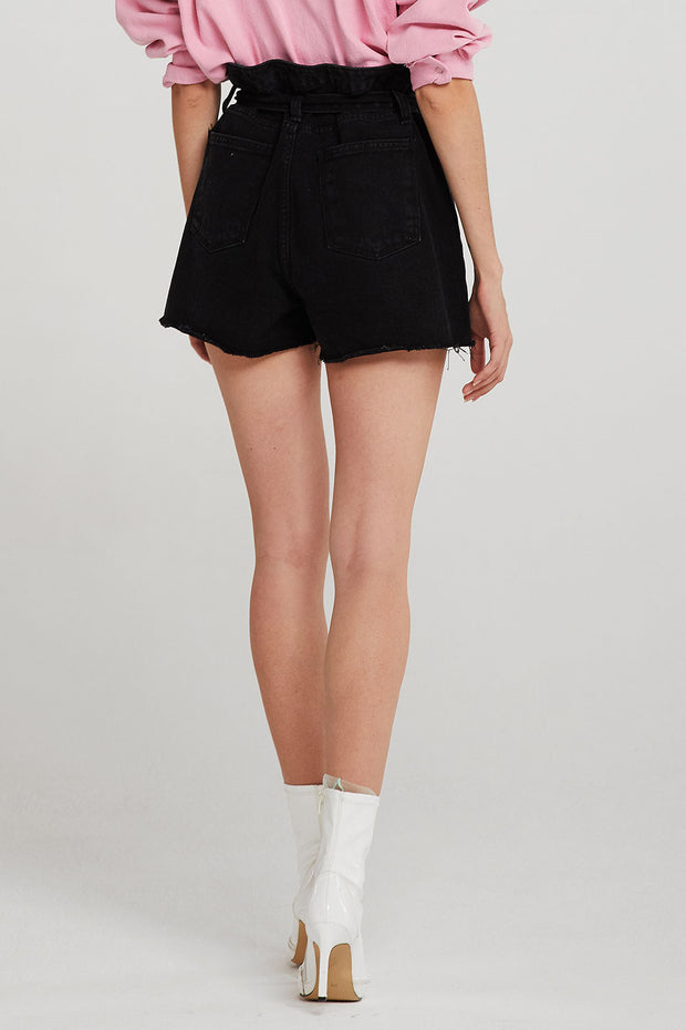 Londyn Belted Paperbag Waist Denim Shorts